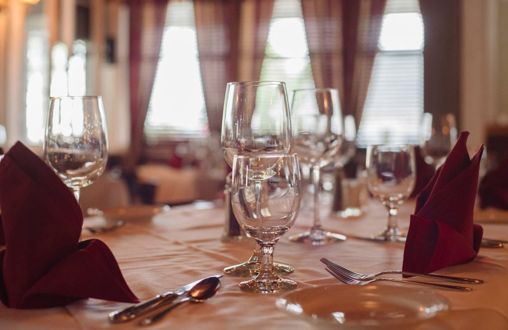 Elegant table setting in the main dining room