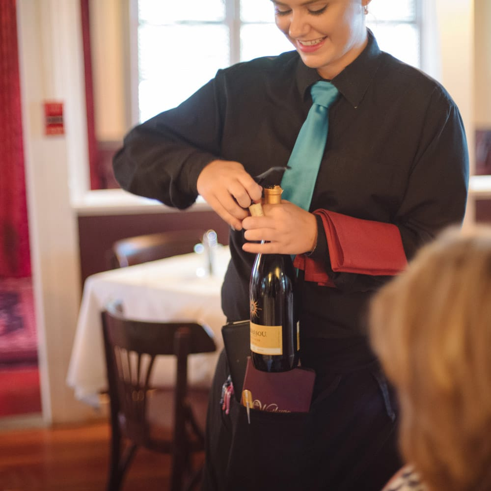 Our servers can help select the perfect wine for your dinner